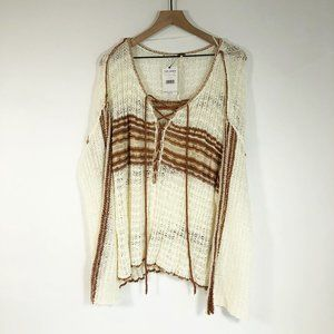 Free People Tanlines Marina Bay Lace-Up Sweater L